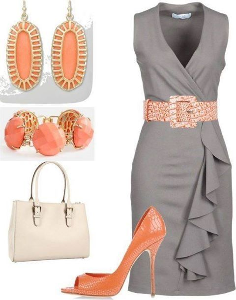 Dress is awesome... not feeling the exact accessories, but the coral color is perfect for it!
