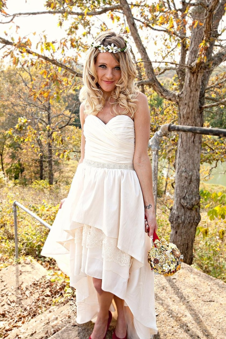 Bohemian wedding dress with high low hem stella by starlight for Hi lo hemline wedding dresses