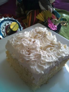 White chocolate egg nog tres leches cake with vanilla rum whipped ...