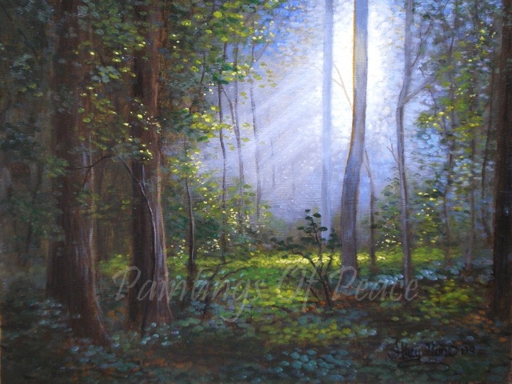 Tree landscape painting forest painting grove acrylic for Painting a forest in acrylics