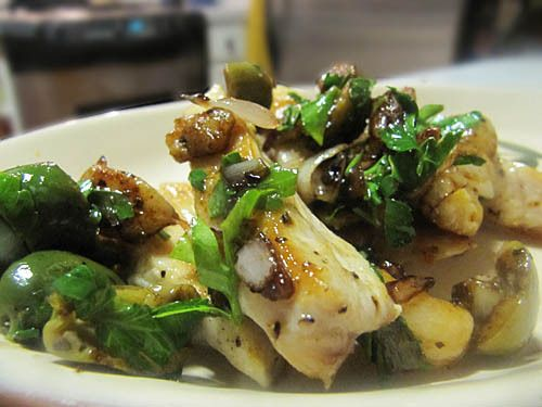 Chicken with Warm Green Olive and Shallot Vinaigrette from ...