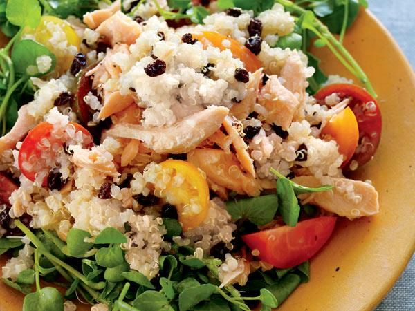 Quinoa & Salmon Salad ¼ c balsamic vinegar 2 Tbsp honey ½ tsp pepper ...