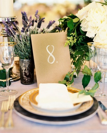 The Table Numbers gold, gold place setting, natural centerpieces lavander