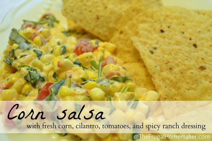 Corn salsa w/ fresh corn, cilantro, and spicy ranch dressing