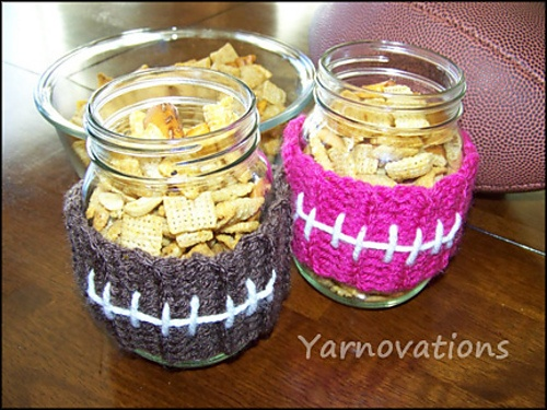 ... : Free Football Jar Cozy with Party Mix Recipe pattern by Yarn Twins