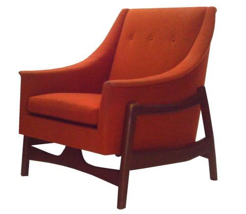in orange danish modern scoop rocker rocking chair mid century
