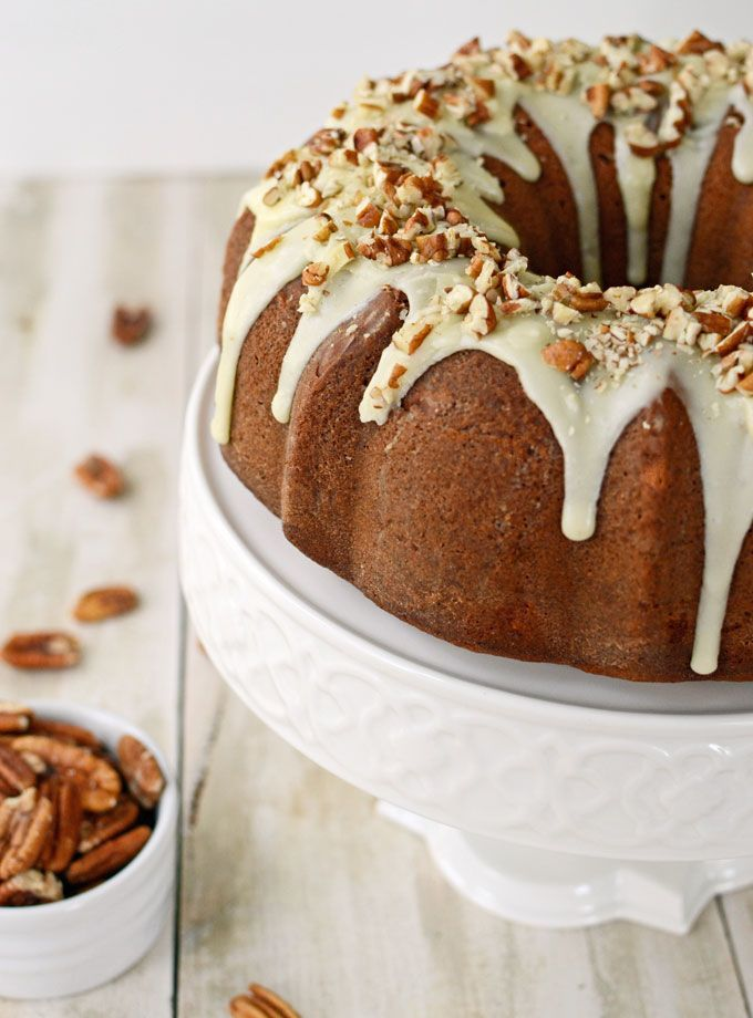 Brown Sugar Cream Cheese Pound Cake with Butter Rum Pecan Glaze at The ...