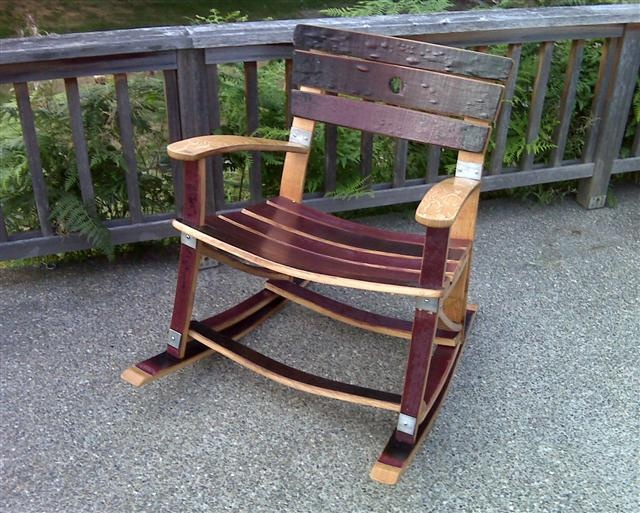 Custom rocking chair from used wine barrel staves  DRINKS...Wine and ...