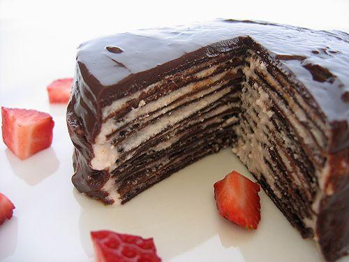 Dark chocolate crepe cake   Cakes   Pinterest