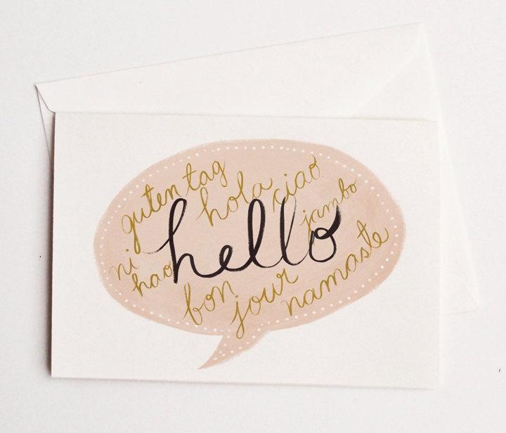 Hello Languages Card 1pc. $3.75, via Etsy.