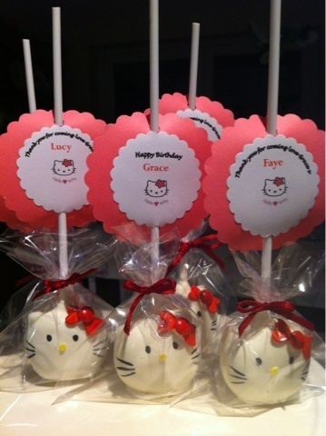 Elaines Cake Pop Bakery: Hello Kitty Pops with gift/place setting tag