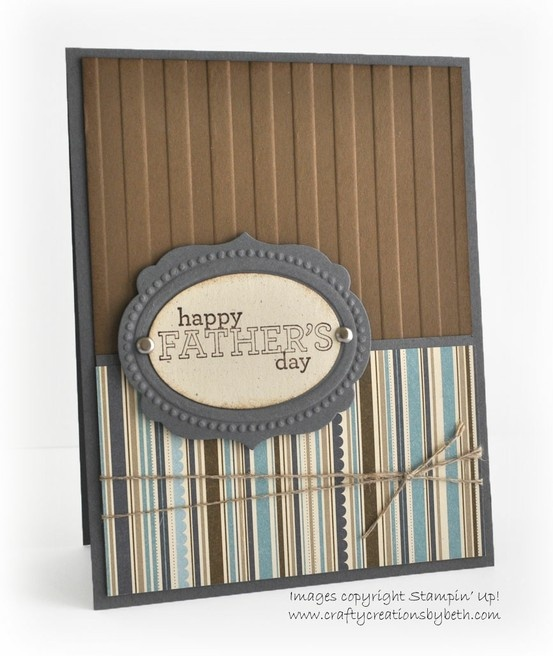 "This card uses Chocolate Chip & Whisper White Card Stock, Word Window, Modern Label, 1 1/4"" Square & 1 3/8"" Square Punches, Teeny Tiny Wishes & Circle Circus Stamp Sets, White Baker's Twine, Itty Bitty Clear Buttons and my Big Shot with the Stripes Embossing Folder."