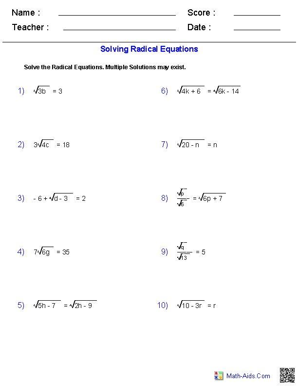 solving radical equations worksheets math aids com pinterest. Black Bedroom Furniture Sets. Home Design Ideas
