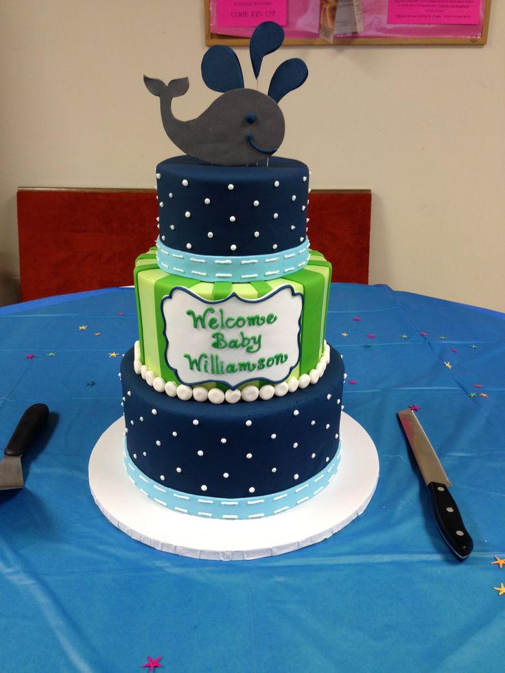 Whale baby shower cake by Heidi Miller