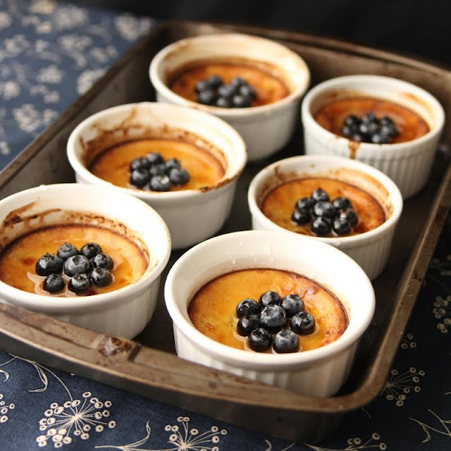 Baked Blueberry Custard with Lemon Syrup