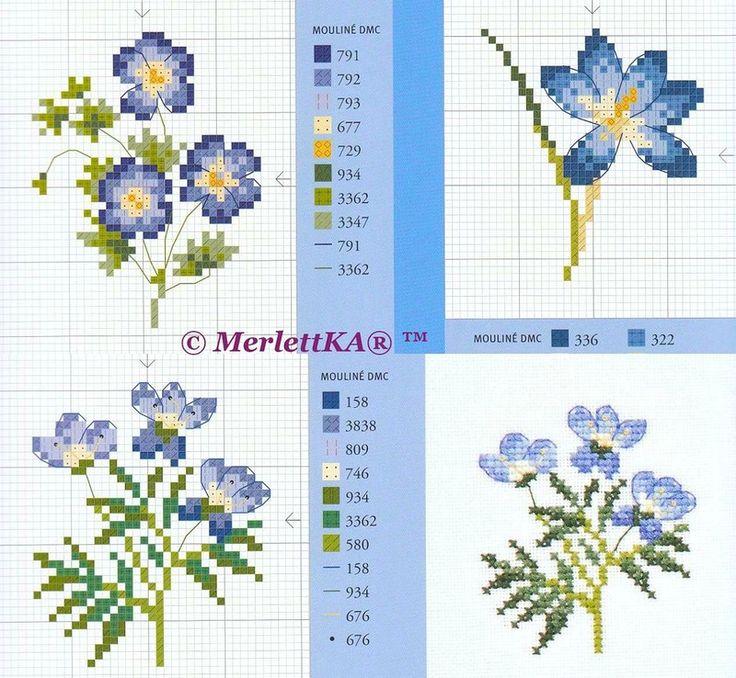 Вышивка крестом маленький цветок 217