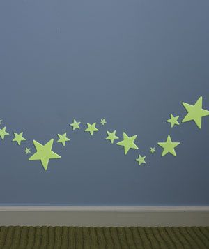Glow in the dark stars leading to bathroom from kids' room