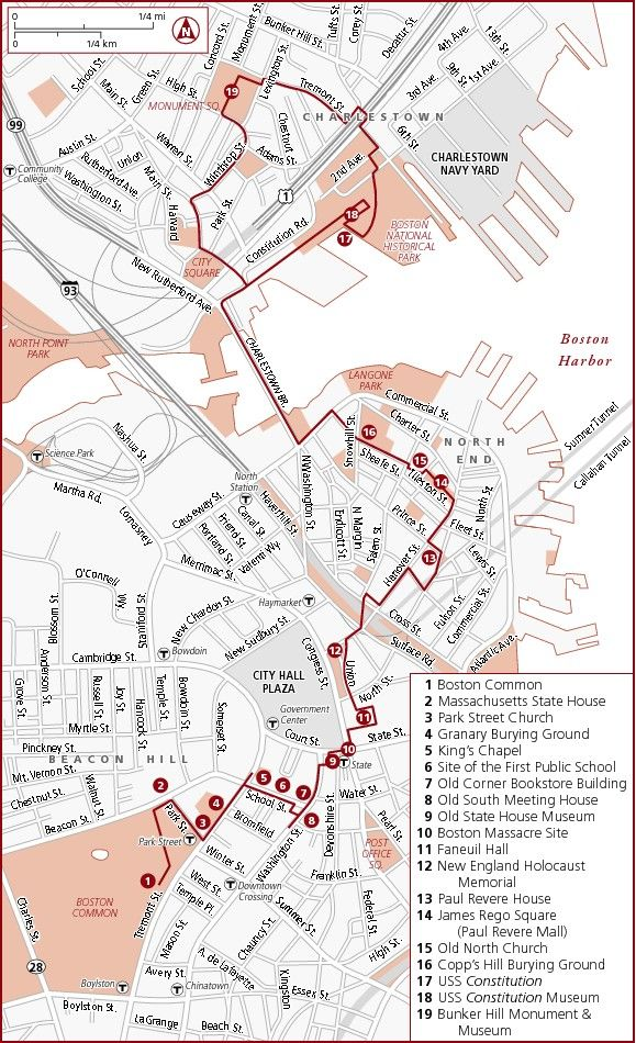 Boston Freedom Trail Map Design Maptastic Pinterest