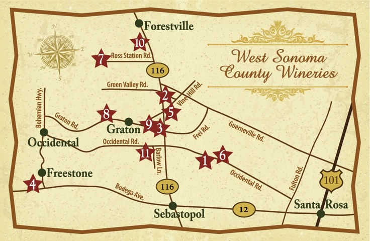 Map Of West Sonoma Wineries Sebastopol Freestone