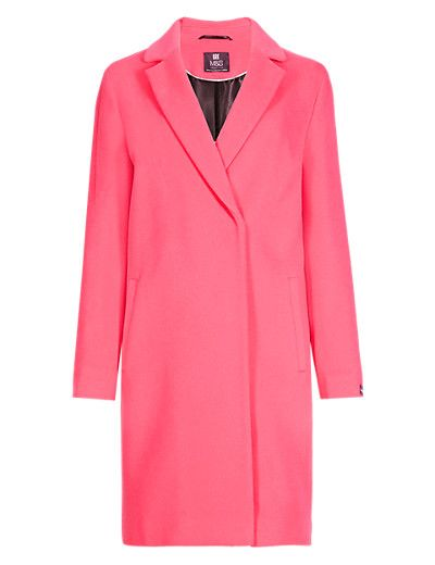 Pink Wool Blend Double Breasted Coat with Cashmere | M&S £120