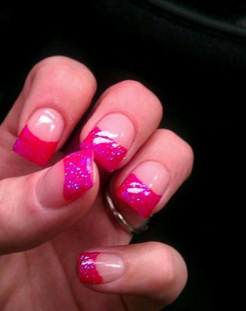 Pink glitter French tips | Nails | Pinterest