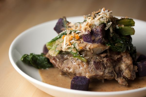 Massaman curry with braised goat, coconut, purple yams, and mustard ...