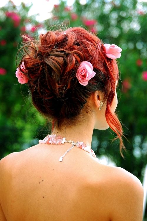 Cute red homecoming and prom hairstyle homecoming hairstyles Hairstyle