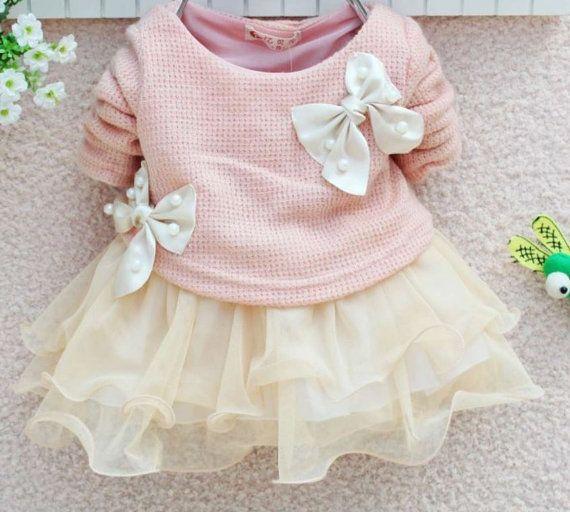 Baby bow lace tutu dress sweater dress flower baby dress girls ea