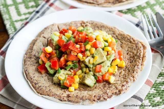 Red Quinoa Pancake with avocados, corn, and red bell pepper