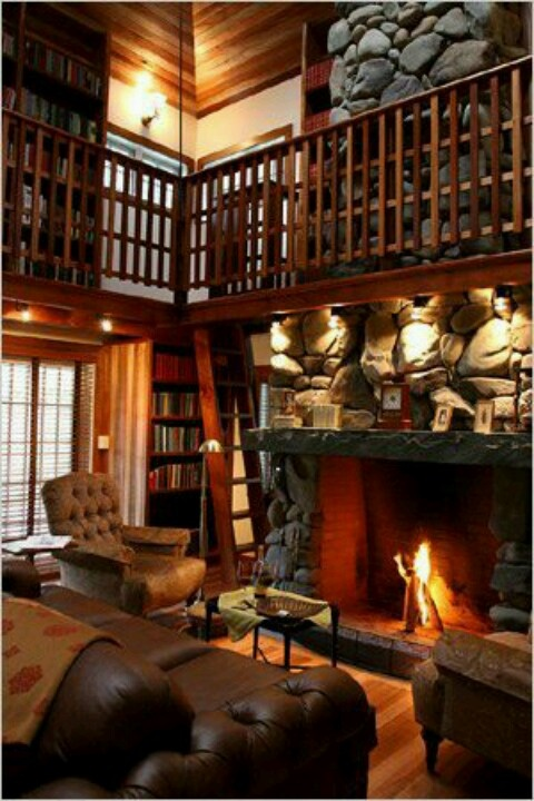 Very Cozy Libraryliving Room Around The House Pinterest