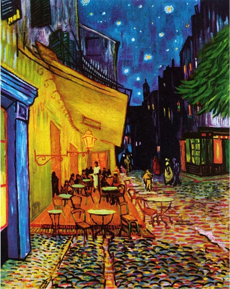 Famous Harmonious Paintings The Terrace At Night Van Gogh