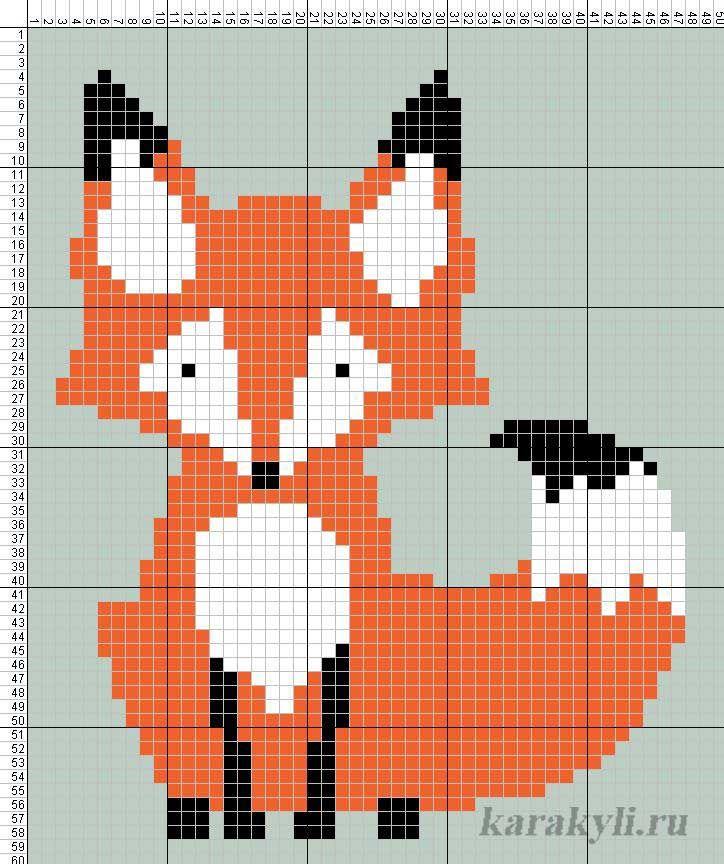 Схема вышивки крестиком лисы 102
