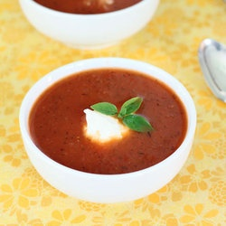 Tomato Soup with Ricotta Cheese and Basil — Punchfork