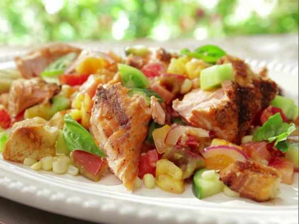 Heirloom Tomato And Grilled Corn Panzanella With Salmon.