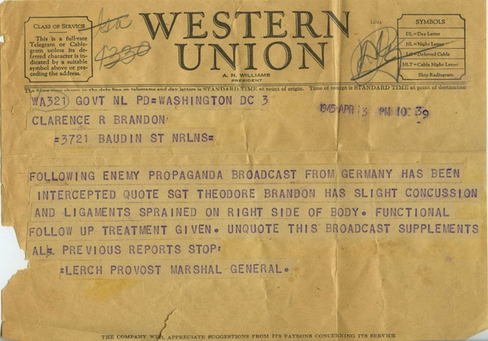 National WW2 Museum - telegram notifying wife of her husband missing in action in Germany