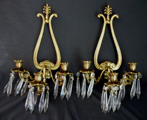Wall Sconces For Candles With Crystals : Vintage Pair Glo-Mar 3 Candle Wall Sconce w Crystal Prism Drops