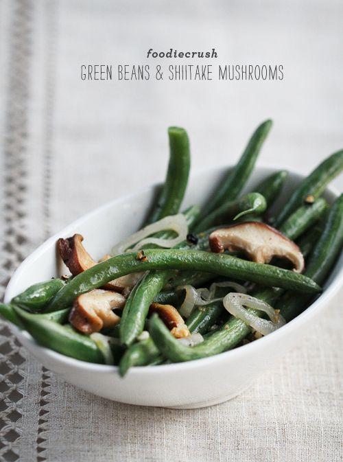 Green Beans & Shiitake Mushrooms by @foodiecrush magazine