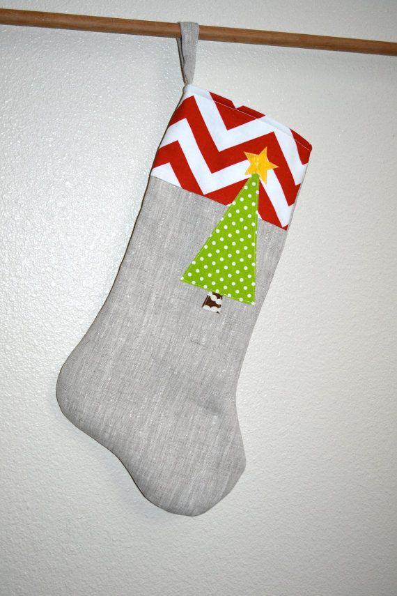 Modern christmas stocking linen with red chevron top and green polk