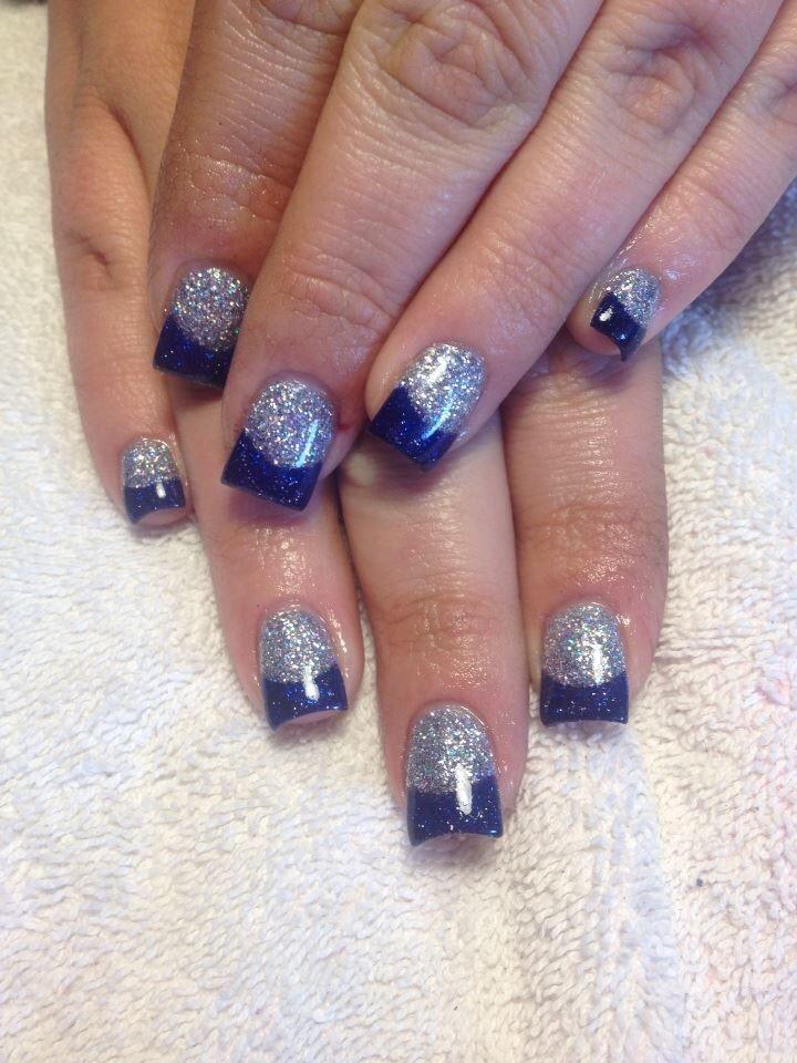 silver and blue acrylic nails make up nails and hair