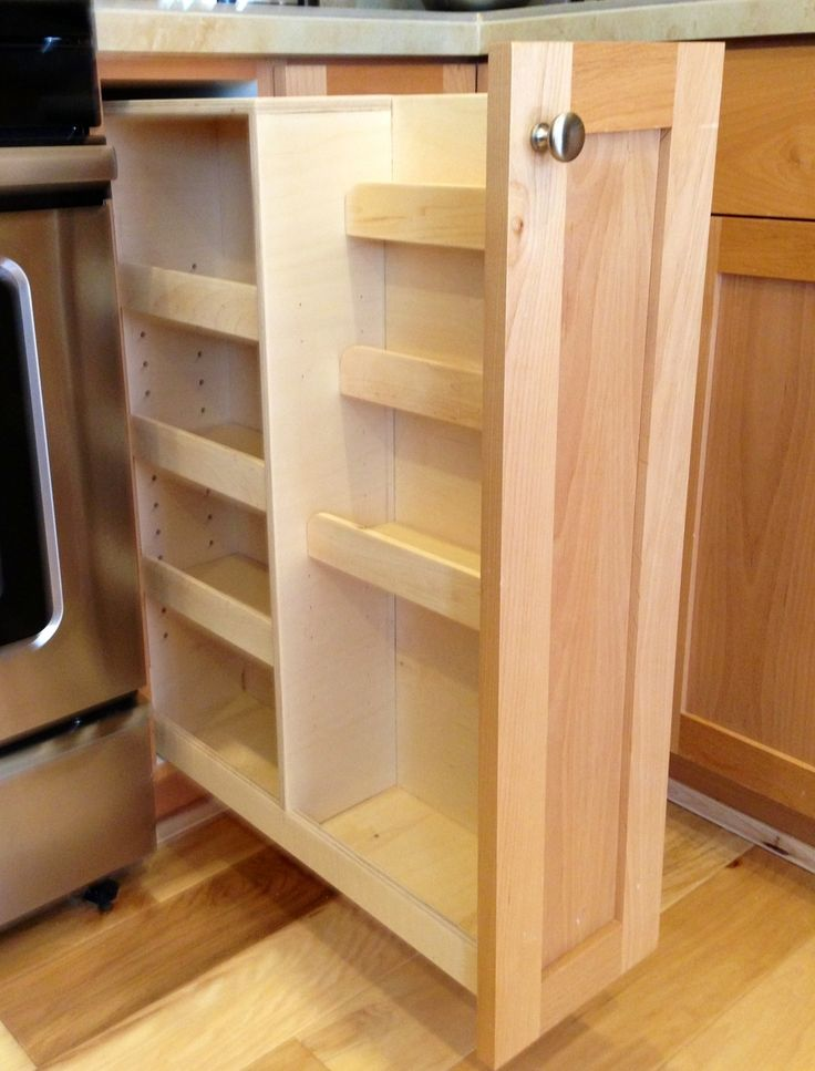 Pull out spice rack cabinet kitchen pinterest for Fewell custom homes