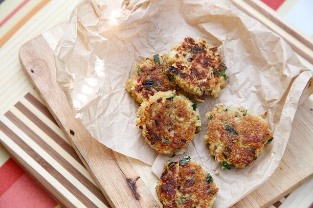 lemon green olive and parsley quinoa cakes via joy the baker love her