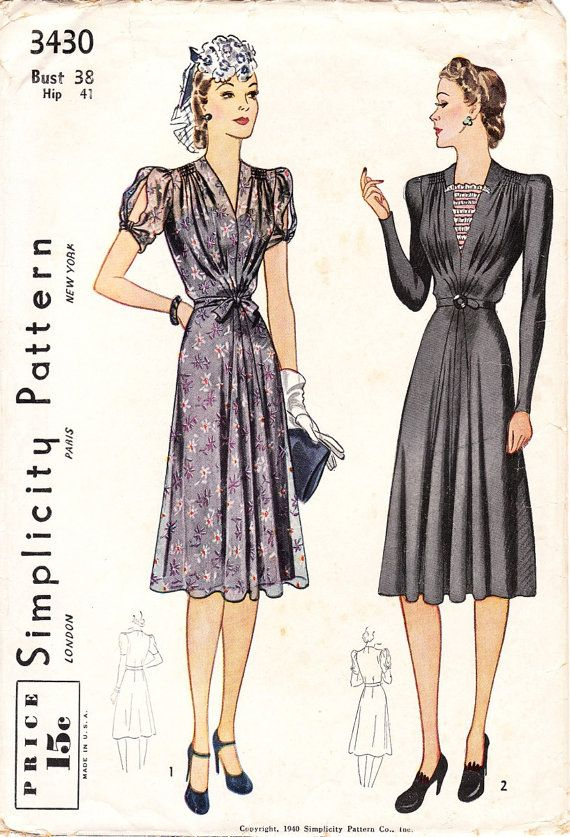 Vintage 30s / 40s dress sewing pattern  by glassoffashion on Etsy, $53.99