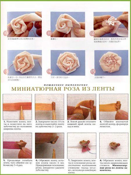 Простые розы из лент своими руками пошаговое