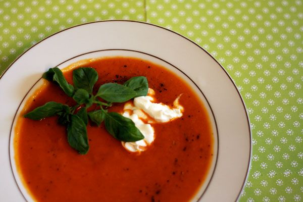 Roasted Red Pepper and Sweet Potato Soup - roast all your veggies in ...