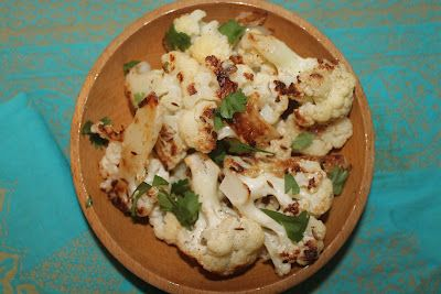 Cumin and lemon roasted cauliflower; I used lime and served with chile ...
