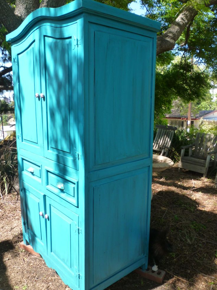 Turquoise Armoire Mission Makeover My Own Painted