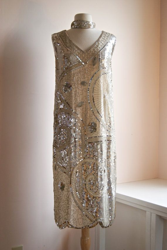 gatsby dress vintage silver beaded flapper by