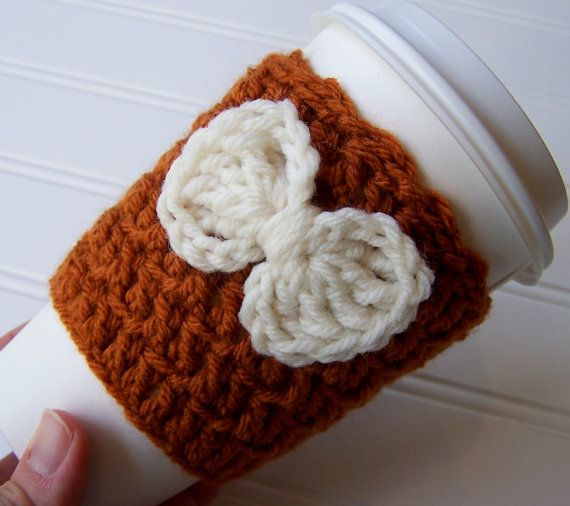 Crochet Coffee Cup Cozy Sleeve Pumpkin with by CrochetMarket, $9.50