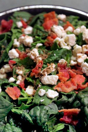Simple Spinach Salad with Bacon and Feta | Soups & Salads | Pinterest