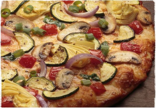 Gourmet veggie pizza round table pizza pinterest for Table 5 pizza